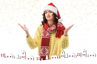 Displeased woman in santa hat and scarf gesturing near houses illustration on white stock vector