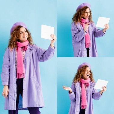 collage of curly young woman in winter coat having video call on digital tablet on blue