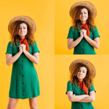 collage of sad curly woman in straw hat and green dress standing with clenched hands on yellow