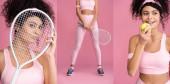 koláž sportovní mladá žena dívá na kameru přes tenisovou raketu a drží míč při úsměvu na růžové