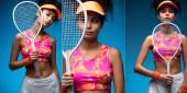 koláž sportovní mladé ženy v čepici držící tenisovou raketu na modré