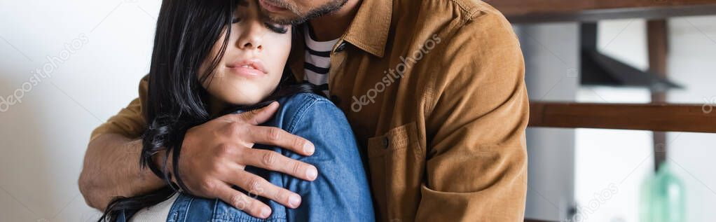 Man in casual clothes embracing sensual brunette woman, banner stock vector