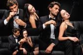 kollázs elegáns szenvedélyes pár dohányzik, miközben ül a bőr kanapén fekete