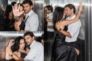 Collage of sexy woman showing stop gesture at camera and embracing with elegant man in elevator stock vector