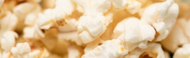 Close up view of airy crispy popcorn, banner, cinema concept stock vector