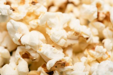 Close up view of delicious airy popcorn, cinema concept stock vector