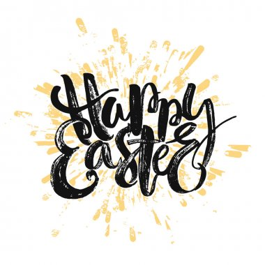Happy Easter inspirational quote handwritten with black ink and