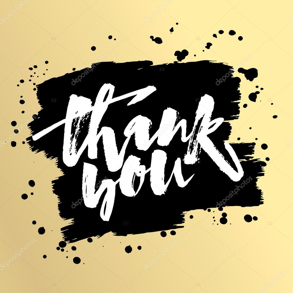 Thank You Card Hand Lettering Motivation Poster Stock Vector