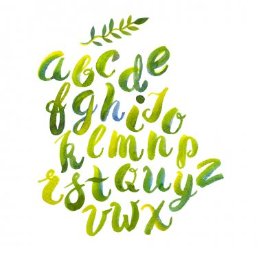Hand drawn watercolor alphabet made with brush-shades and smears