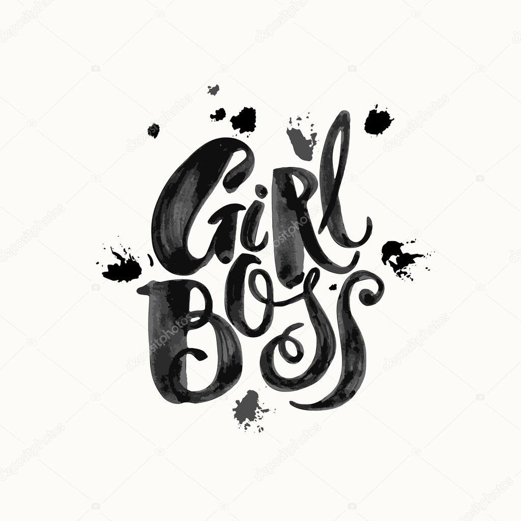 girl boss modern business concept of independent women watercol