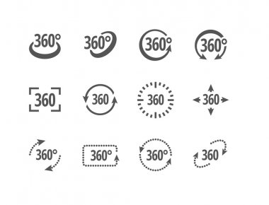 360 degrees view sign vector icons