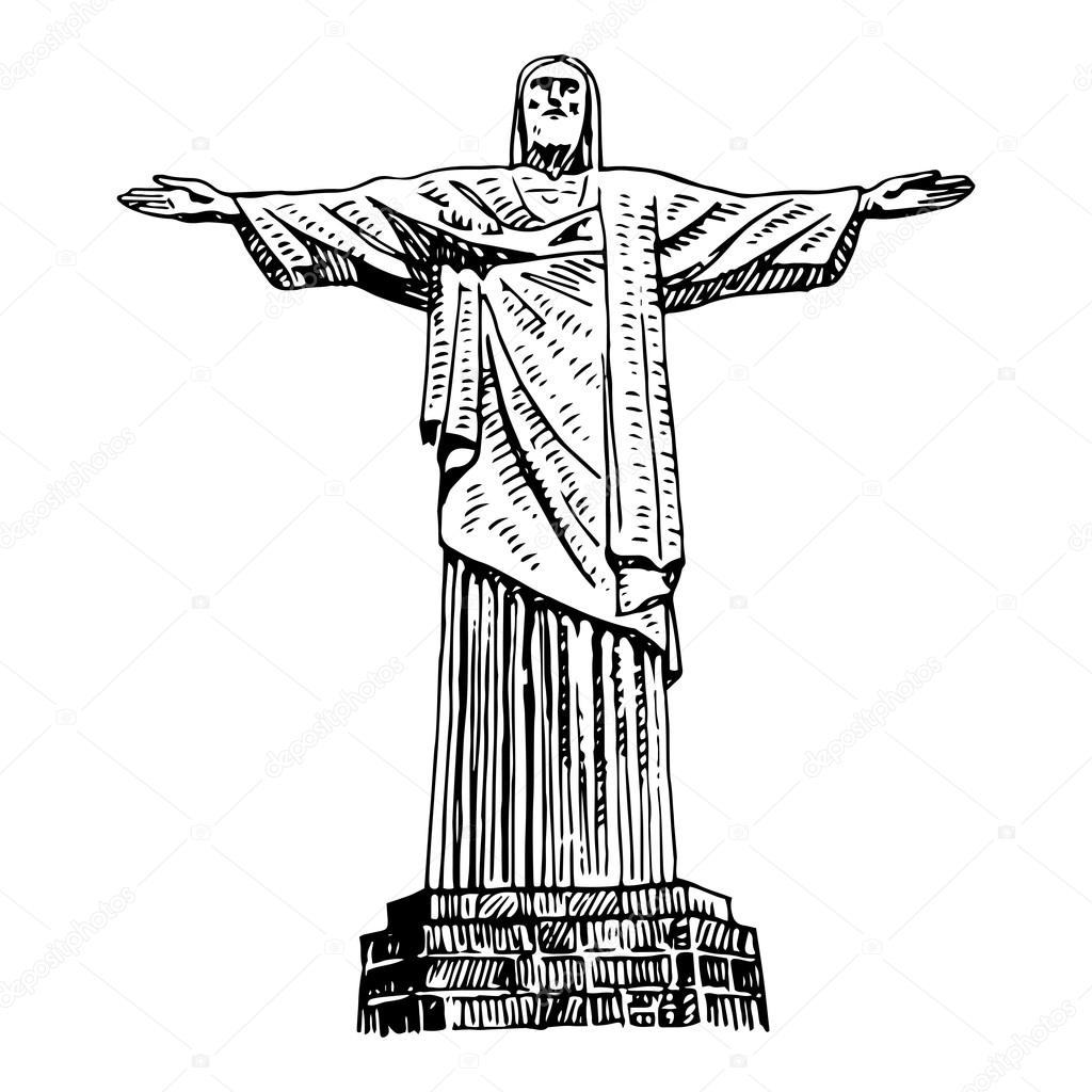 Well-known O Cristo Redentor no Rio de Janeiro, Brasil — Vetores de Stock  FU81