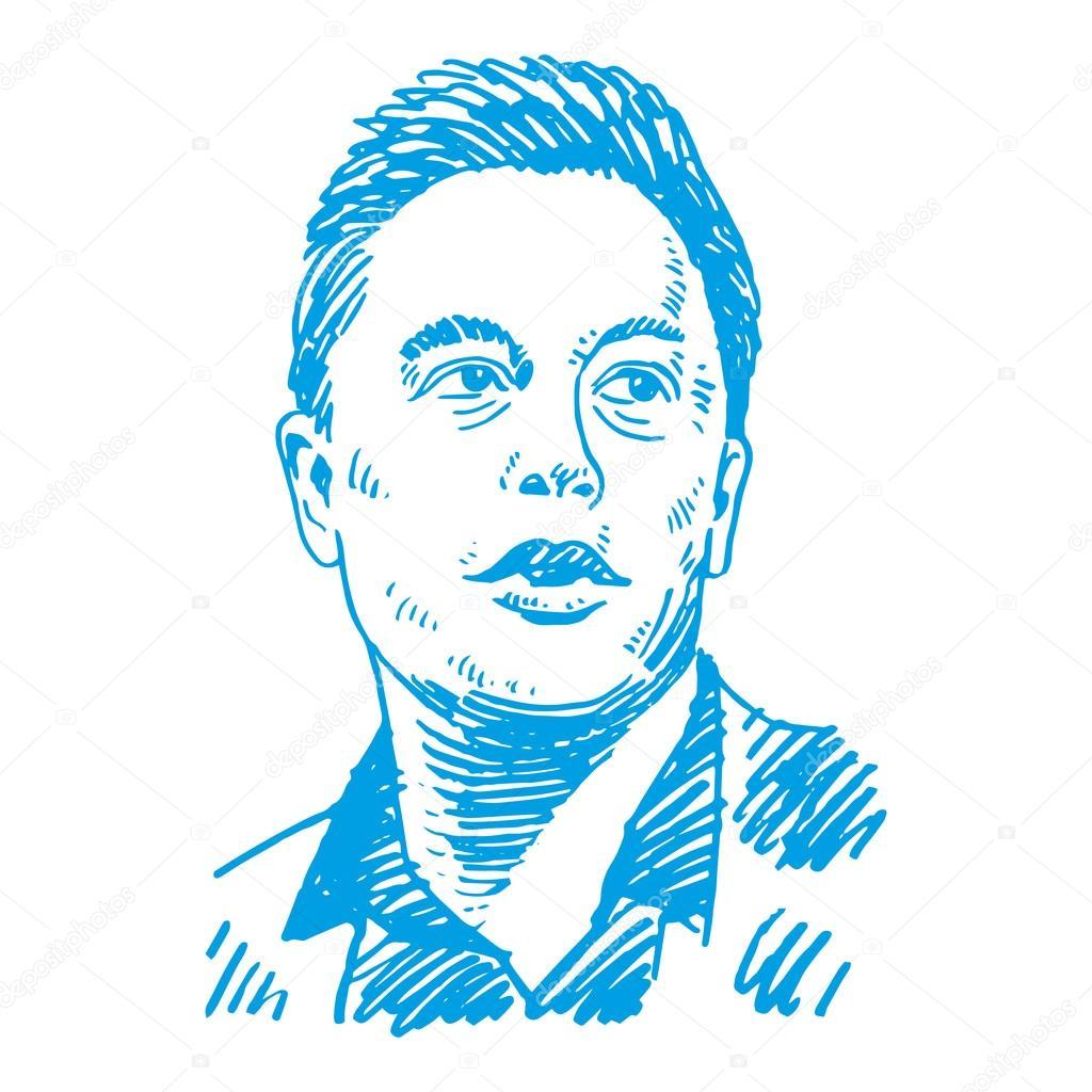 Elon Musk, CEO of Tesla Motors and SpaceX  — Stock Vector