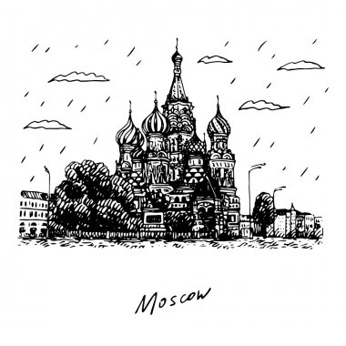 View of St. Basil's Cathedral on the Red Square in Moscow, Russia.