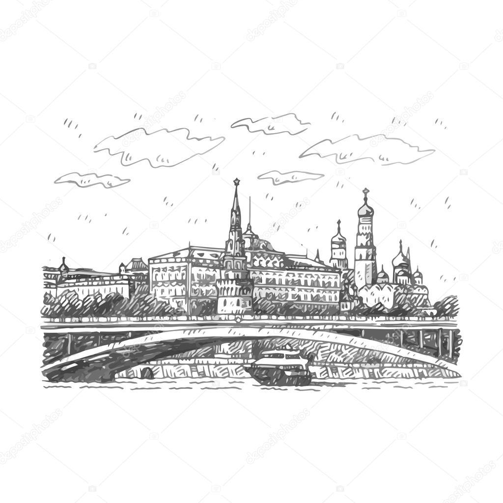 vista del bol  u0026 39   u0161oj kamennyj ponte sul fiume moscova e cremlino a mosca  russia   u2014 vettoriali