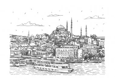 View of the old town in Istanbul, Turkey.