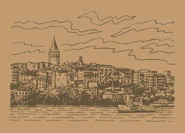 View of Karakoy and the Galata Tower from the Bosphorus, Istanbul, Turkey.
