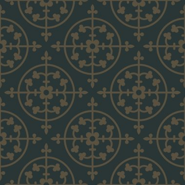 Golden seamless pattern on a dark green background.