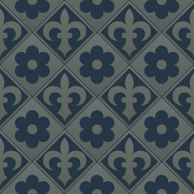 Silver seamless pattern on a dark blue background.