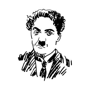 Portrait of Charlie Chaplin.