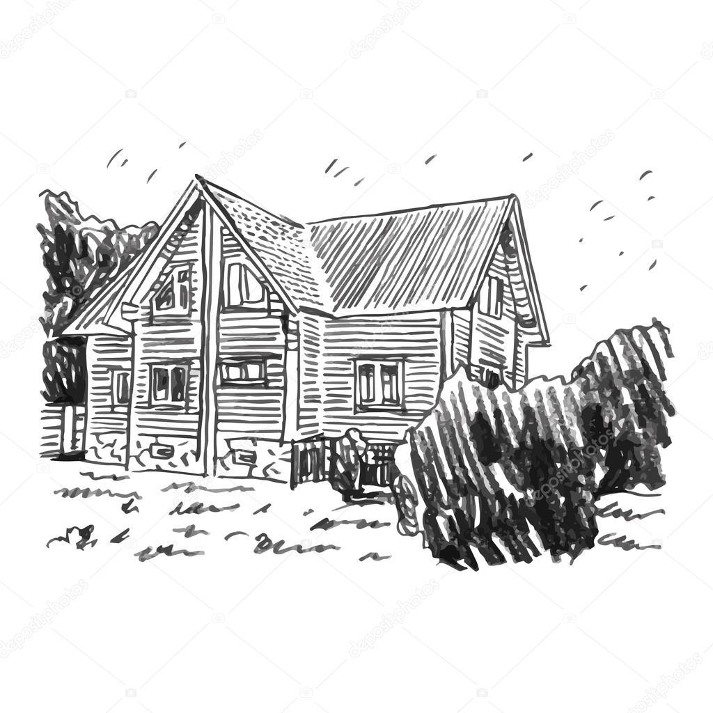 disegno di una casa uno schizzo di una casa di campagna vettoriali stock