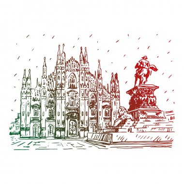 Milan Cathedral with statue, Italy.