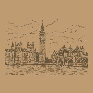 Palace of Westminster, Elizabeth Tower (Big Ben) and Westminster Bridge. London, England, UK.