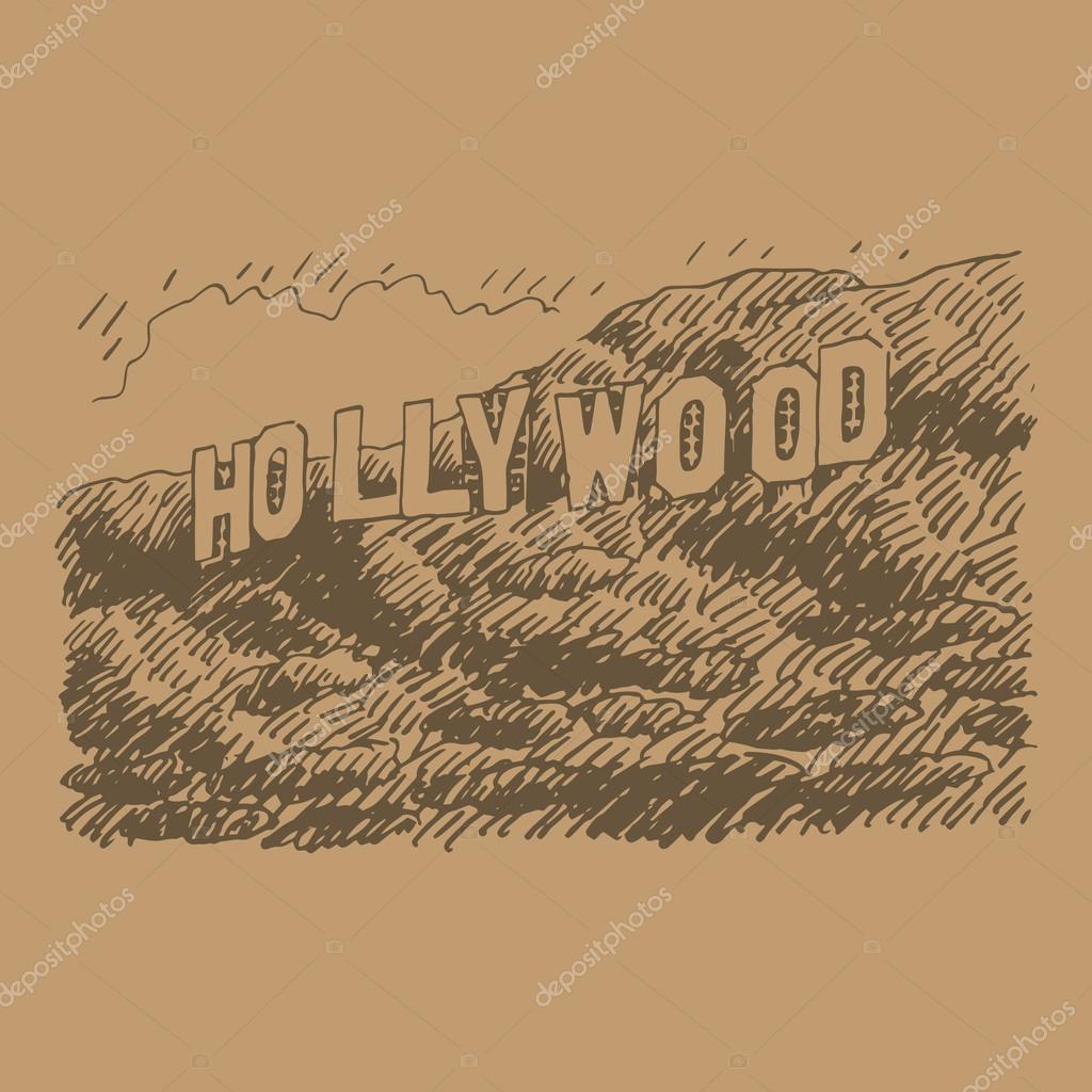 Stock Illustration Hollywood Sign Los Angeles California USA Vector