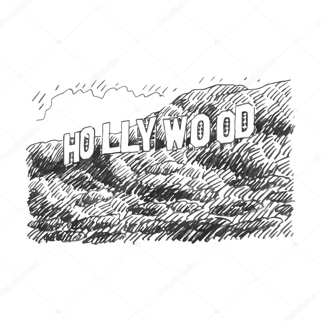 Hollywood Sign Los Angeles California USA Stock Vector