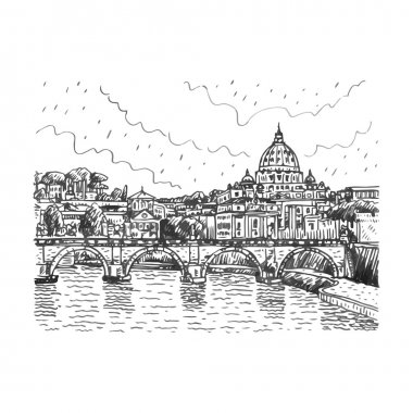 View at Tiber and St. Peter's cathedral in Rome, Italy.