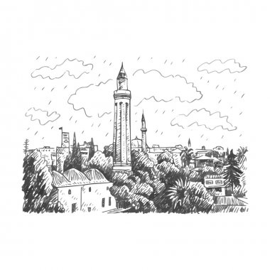 Grooved Minaret (Yivli Minare), Kaleici, Antalya, Turkey.