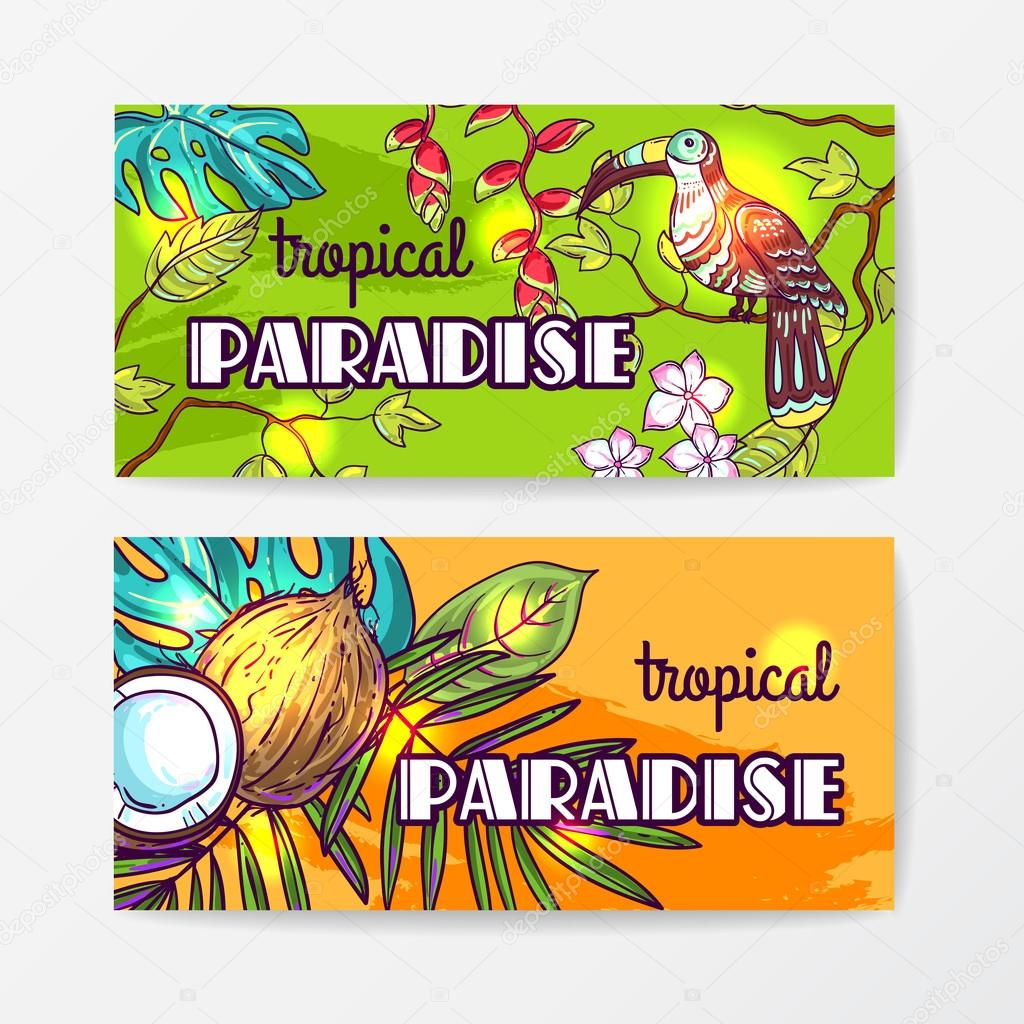 Tropical vector hand drawn illustration