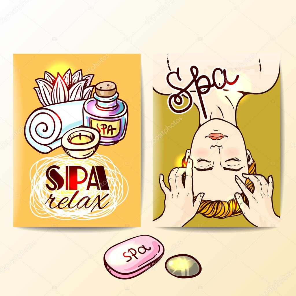 hand drawn spa