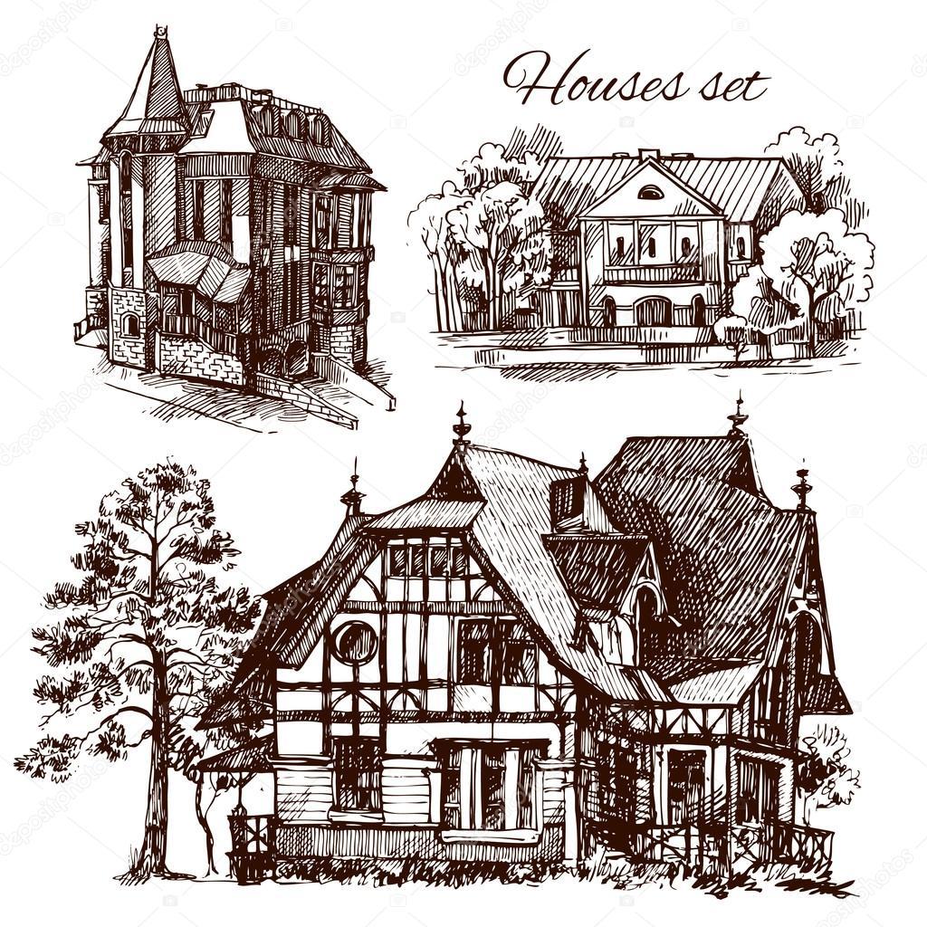Illustrazione di schizzo di casa vettoriali stock for Schizzo di piani di casa gratuiti