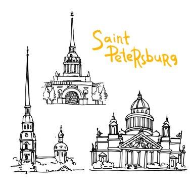 Beautiful hand drawn vector illustration sketching of Saint Petersburg. clip art vector