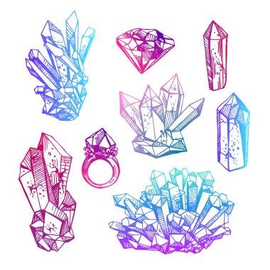 sketch of crystals