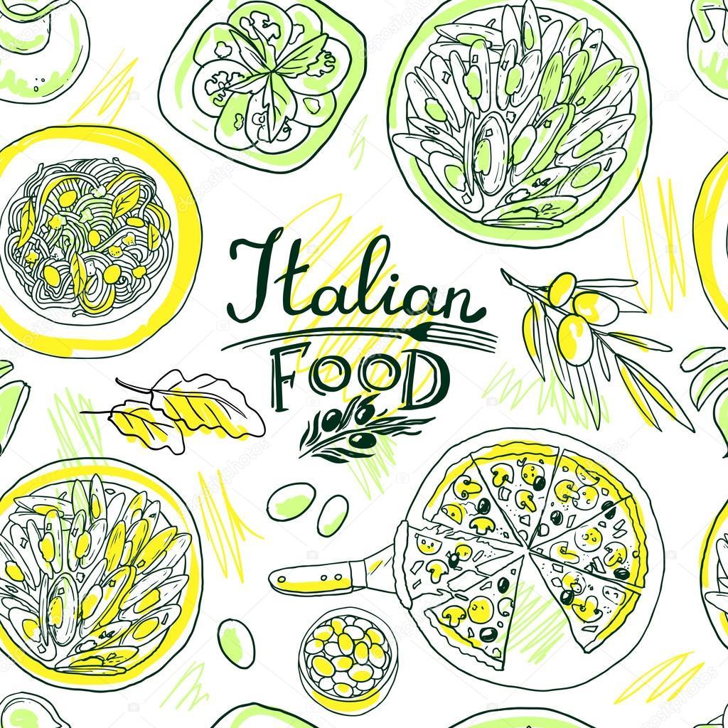 schne hand zeichnen simpless muster italienisches essen stockvektor - Schone Muster Zum Zeichnen