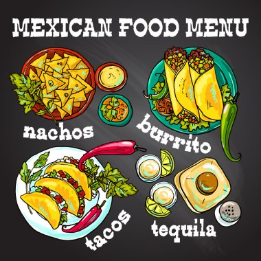 Mexican food- illustration on the chalkboard for your design clip art vector