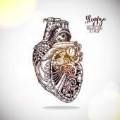 Fotografia illustrazione del cuore meccanico a mano