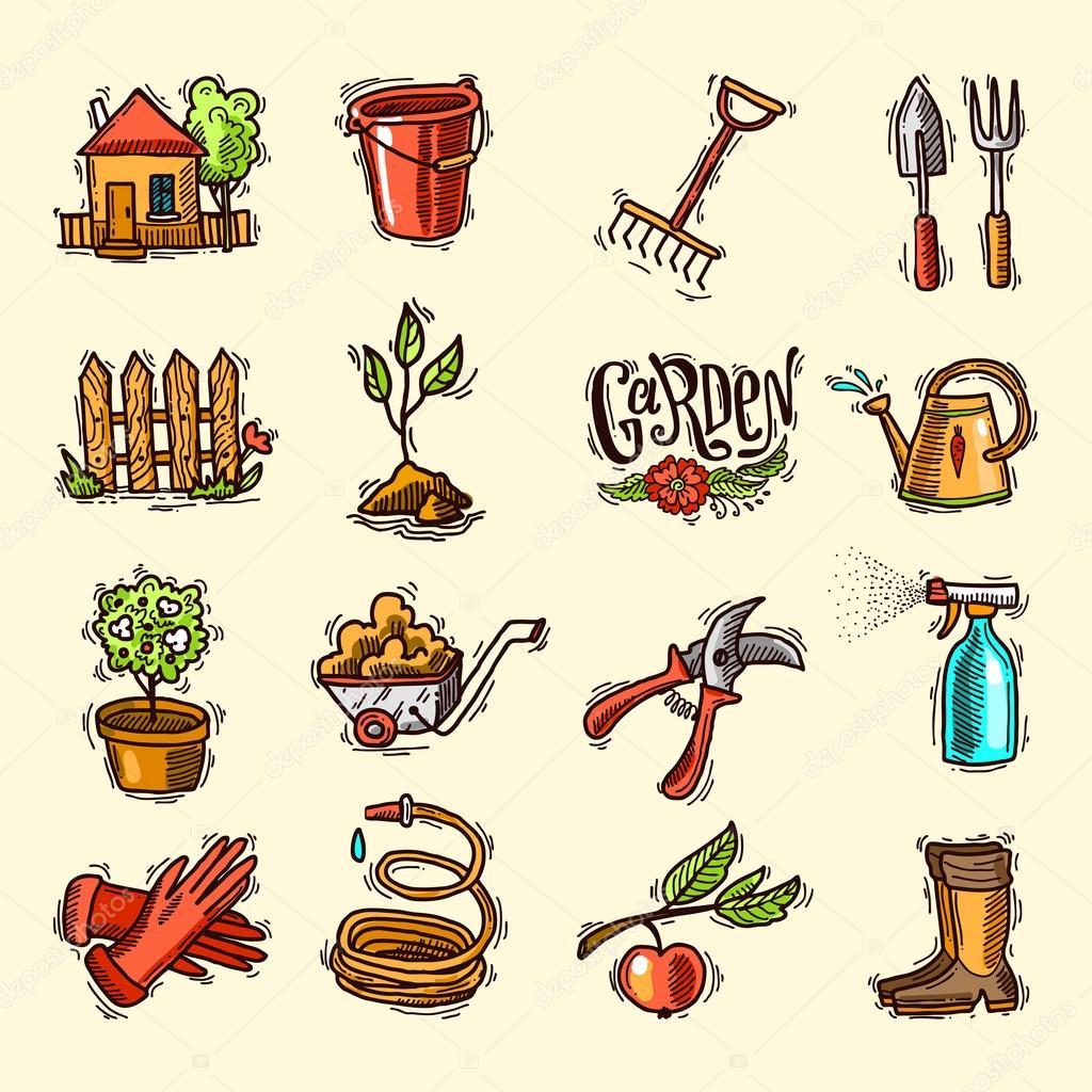doodle icons garden