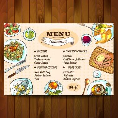 illustration restaurant food top view