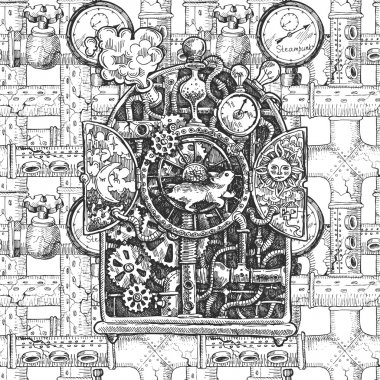 steampunk mechanism  sketch