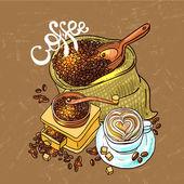 Skica ilustrace káva