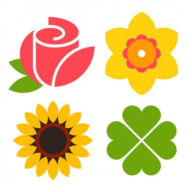 Flower icon set - rose, narcissus, sunflower and clover