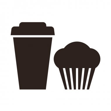 Muffin and coffee to go icon