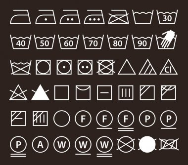 Set of washing symbols (Laundry icons)