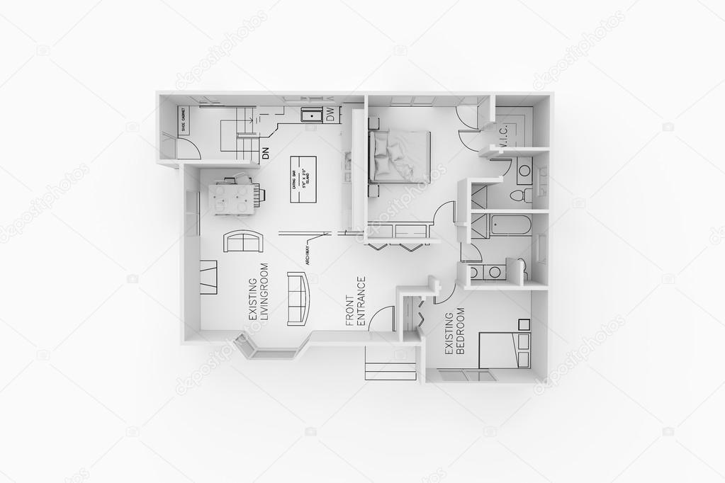 Plan De L'Architecture D'Une Maison D'Habitation — Photographie