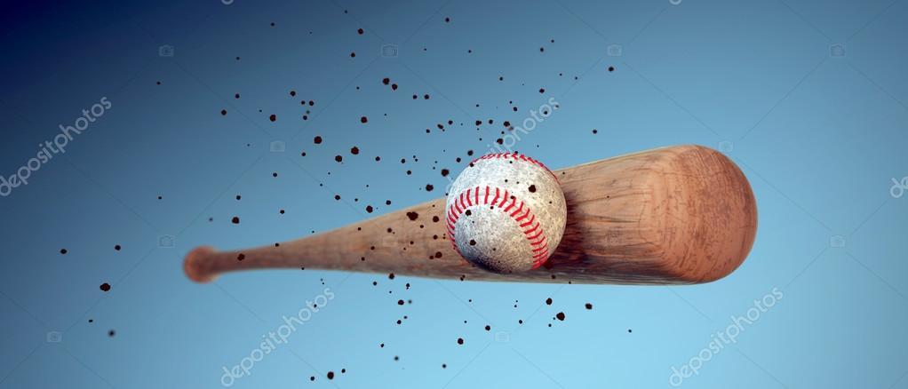 e0c0a1909 Taco de beisebol de madeira batendo uma bola — Fotografia de Stock