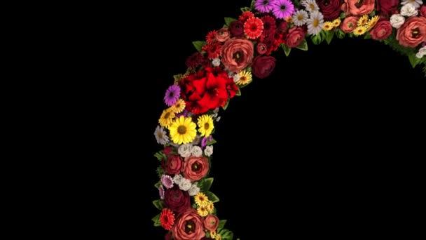 Animace vířícího kruhu květin na černém pozadí. Smyčka videa 4K
