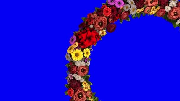 Animation of a swirling ring of flowers on a blue background. The chroma key. Loop video